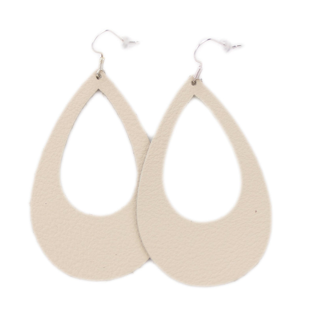 The Eclipse Leather Earrings in Natural