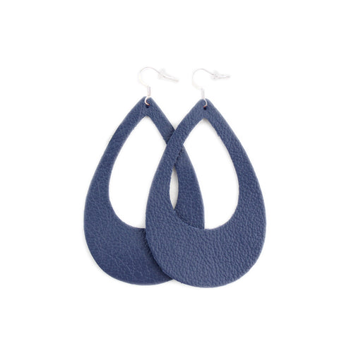 The Eclipse Leather Earrings in Navy