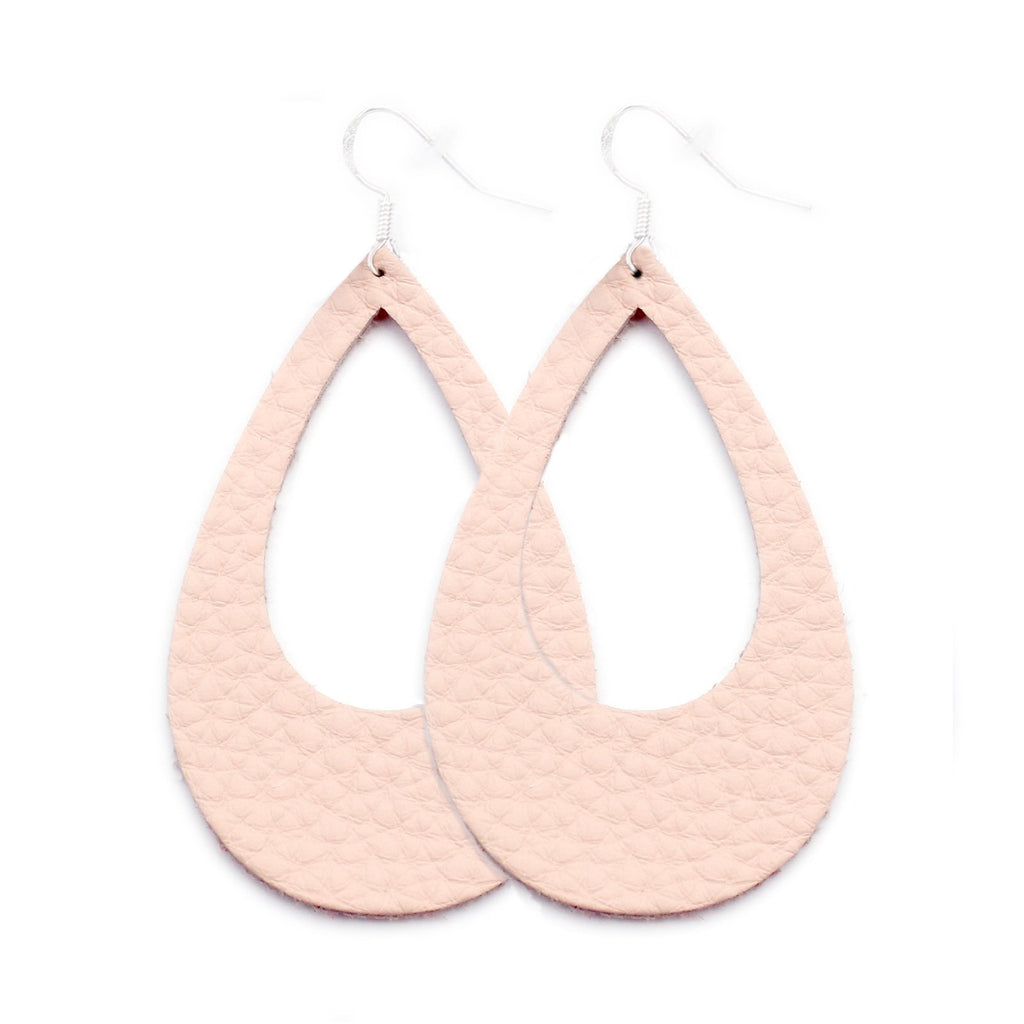 The Eclipse Leather Earring in Millennial Pink