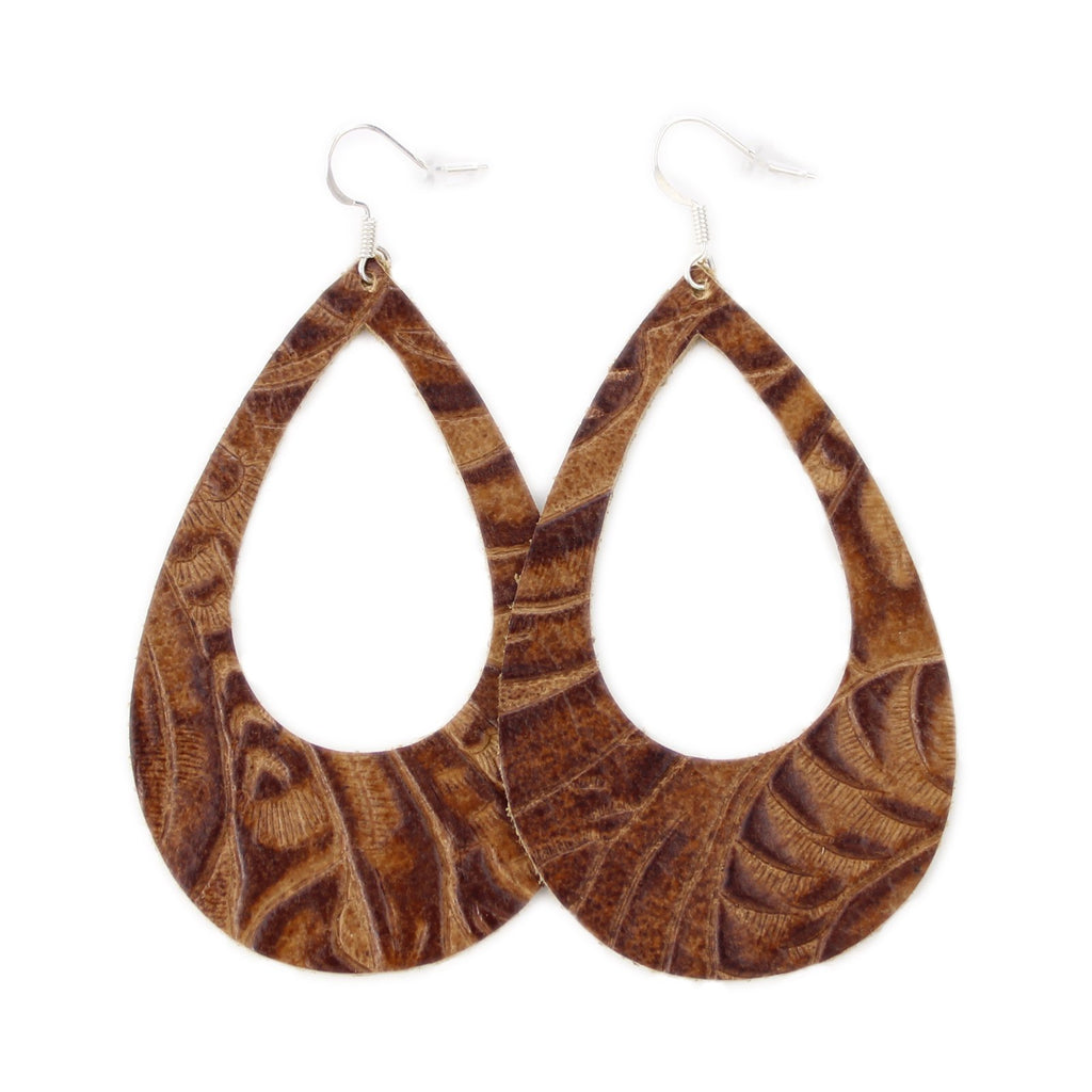 The Eclipse Leather Earrings in Tooled Brown