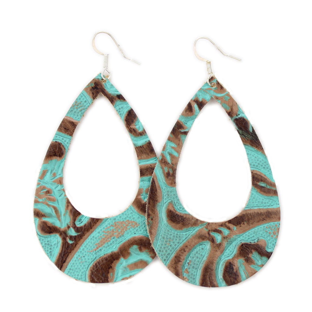The Eclipse Leather Earrings in Tooled Turquoise