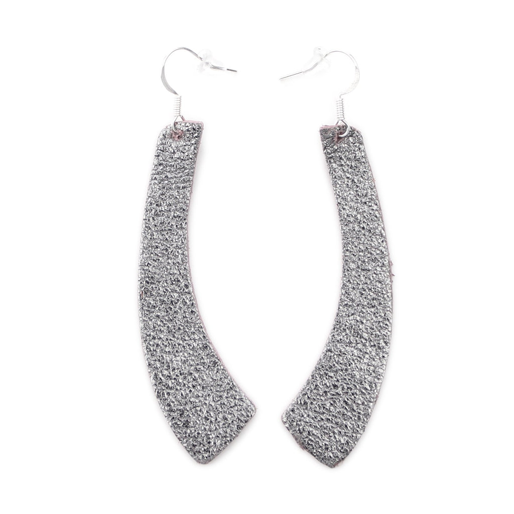 The Wing Leather Earrings in Shiny Silver