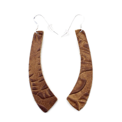 The Wing Leather Earrings in Tooled Brown