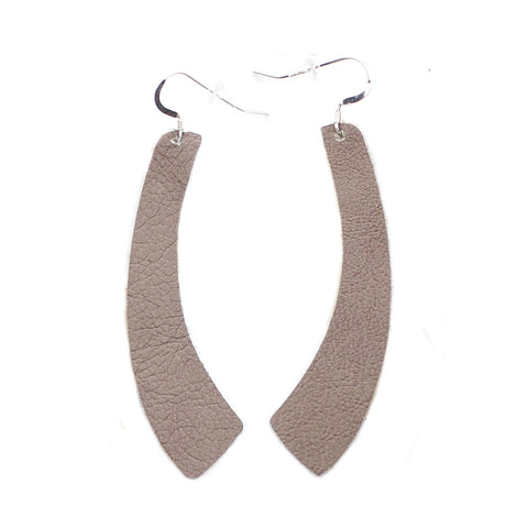 The Wing Leather Earrings in Taupe