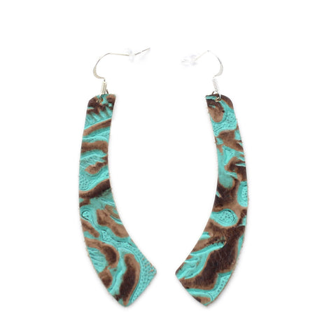 The Wing Leather Earrings in Tooled Turquoise