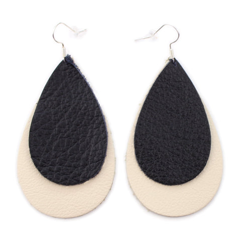 The Double Drop Leather Earrings in Black Over Natural