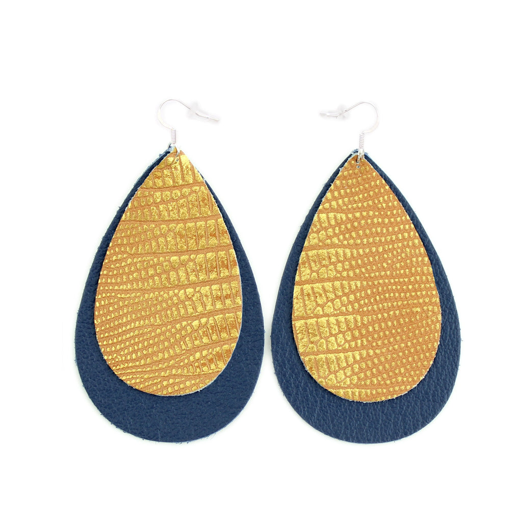 The Double Drop Leather Earrings in Copper Lizard over Navy