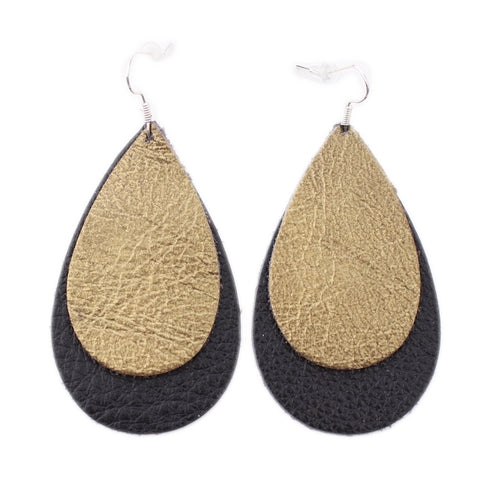 The Double Drop Leather Earrings in Gold Foil Over Back