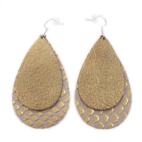The Double Drop Leather Earrings in Gold Foil Over Gold Lizard