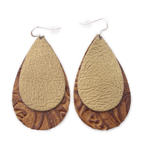 The Double Drop Leather Earrings in Gold Foil Over Tooled Brown