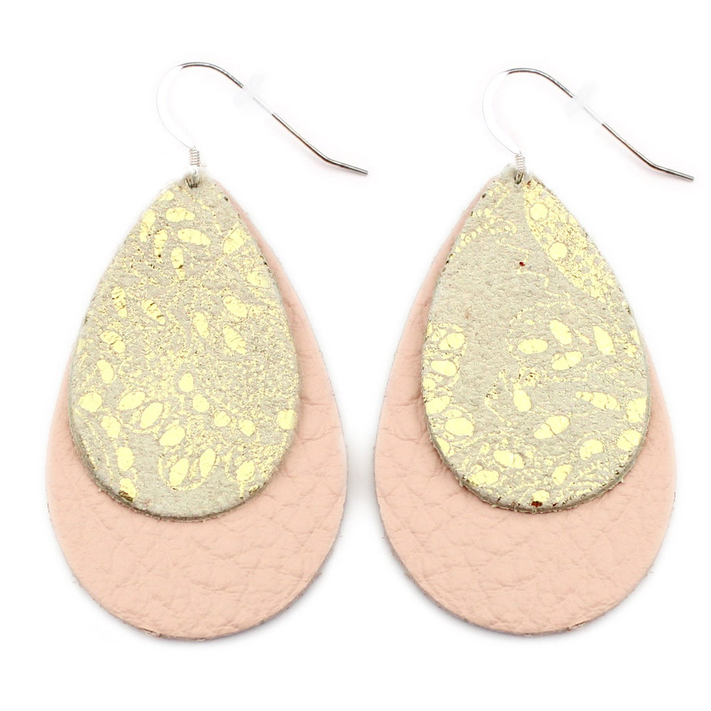 The Double Drop Leather Earrings in Gold Lace Over Millennial Pink