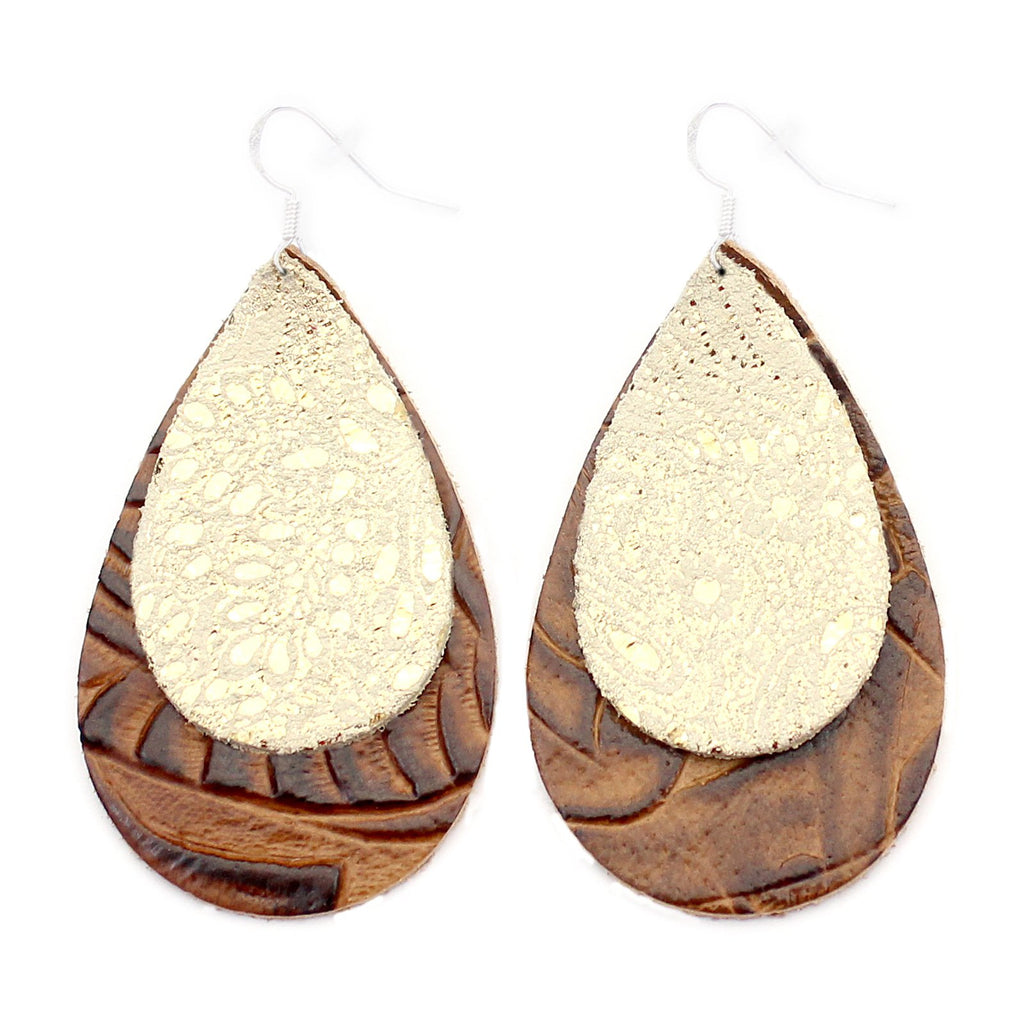 The Double Drop Leather Earrings in Gold Lace Over Tooled Brown