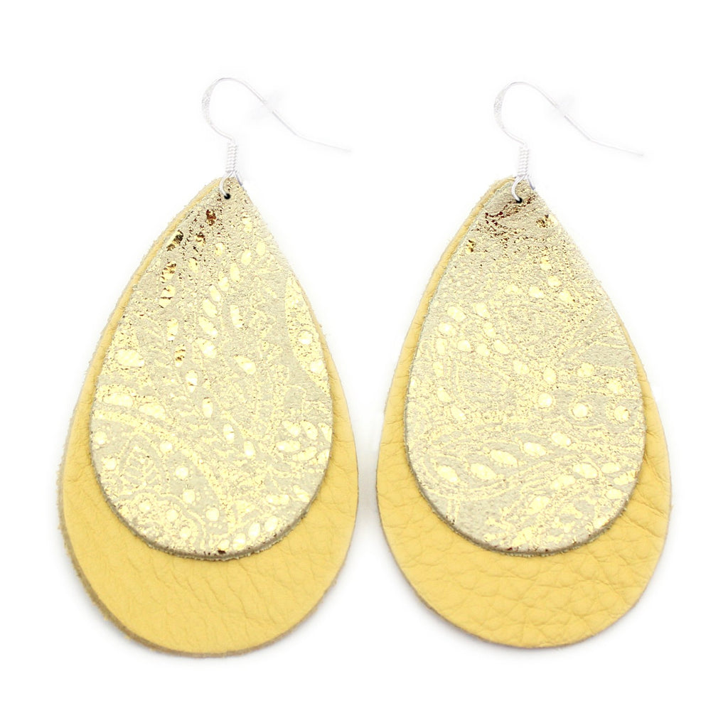 The Double Drop Leather Earrings in Gold Lace Over Yellow