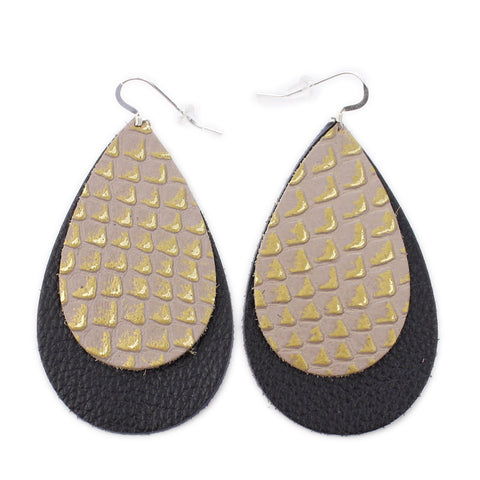 The Double Drop Leather Earrings in Gold Lizard Over Black
