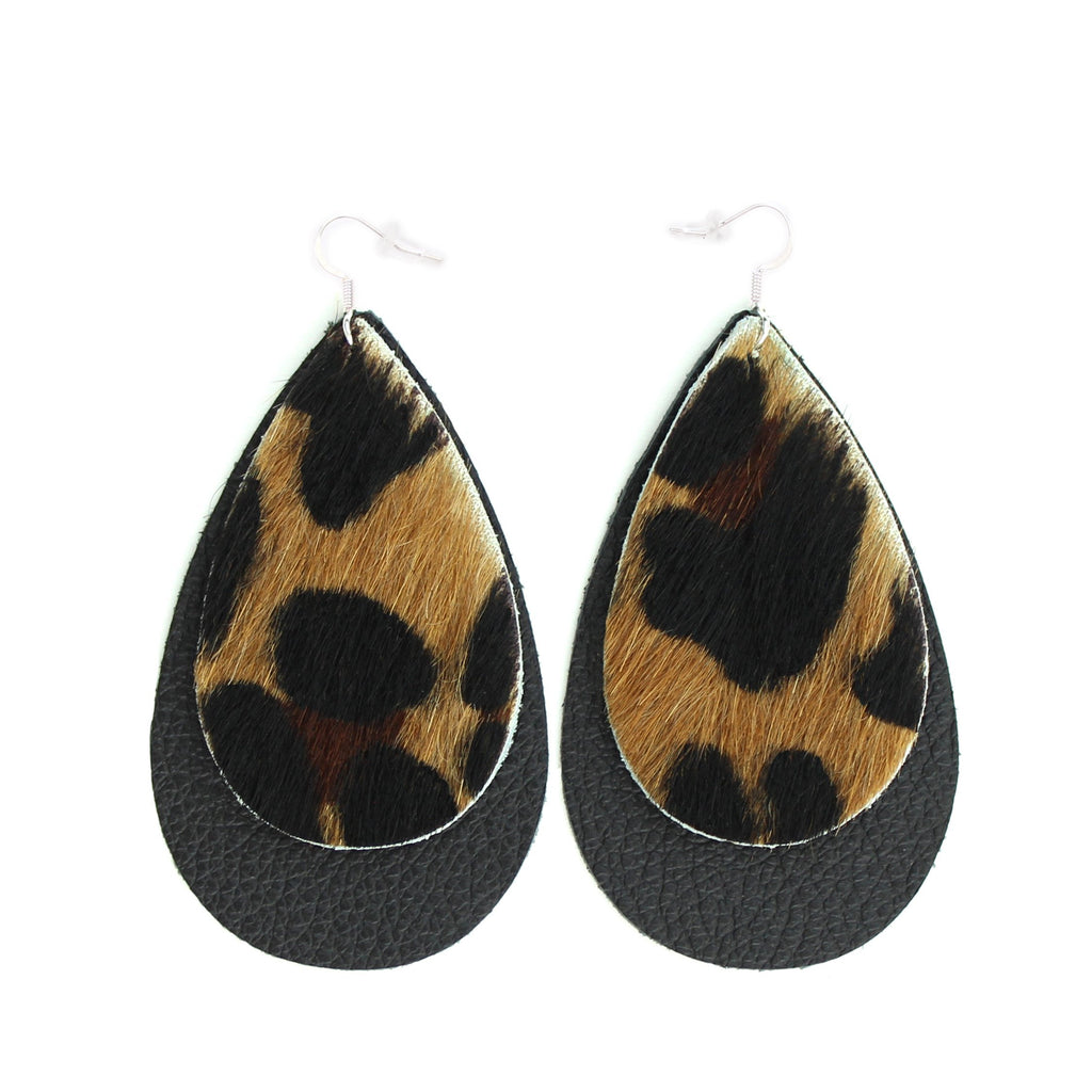 The Double Drop Leather Earrings in Leopard over Black