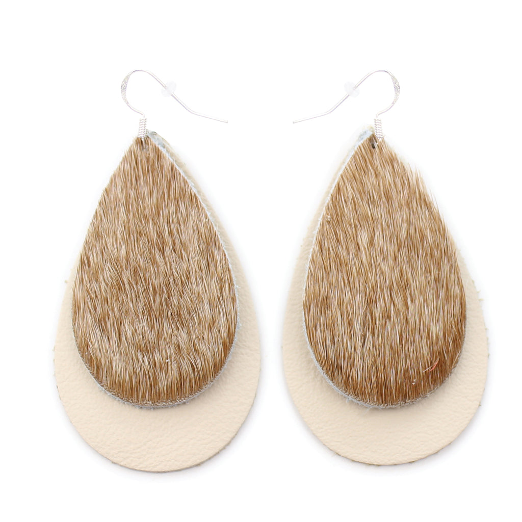 The Double Drop Hair On Leather Earring in Light Tan Over Natural