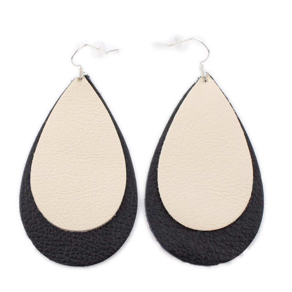 The Double Drop Leather Earrings in Natural Over Black