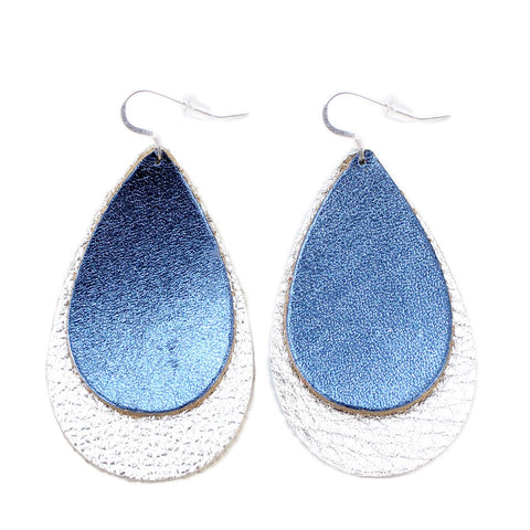 The Double Drop Leather Earrings in Shiny Blue Over Shiny Silver