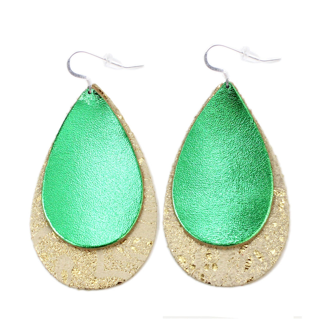 The Double Drop Leather Earrings in Shiny Green Over Gold Lace