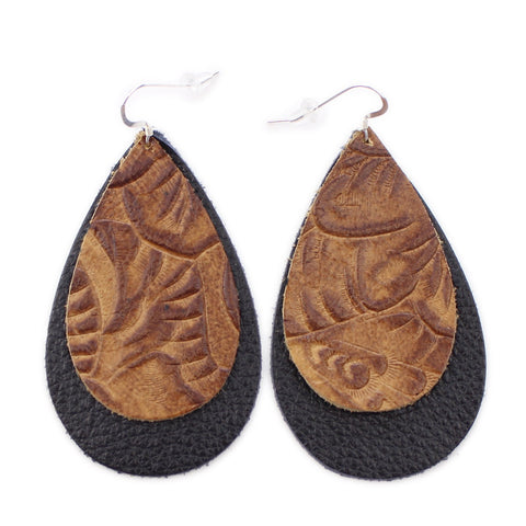 The Double Drop Leather Earrings in Tooled Brown Over Black