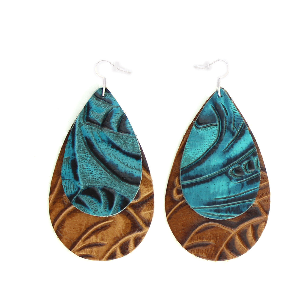 The Double Drop Leather Earrings in Tooled Blue over Tooled Brown