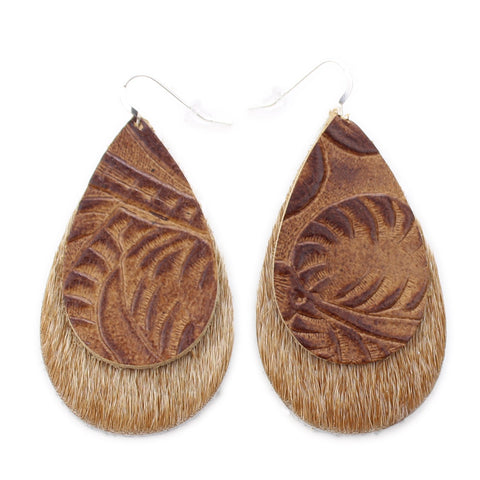 The Double Drop Leather Earring in Tooled Brown over Light Tan Hair On