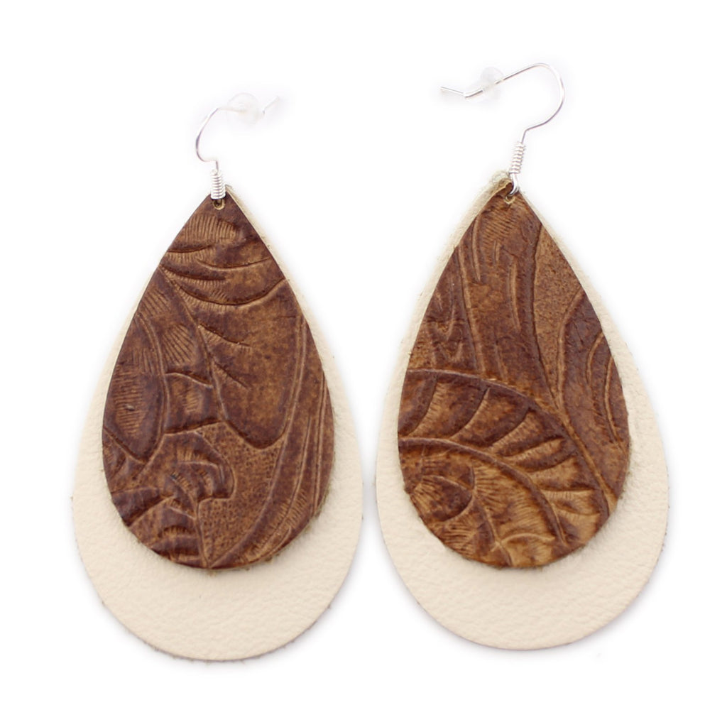 The Double Drop Leather Earrings in Tooled Brown Over Natural