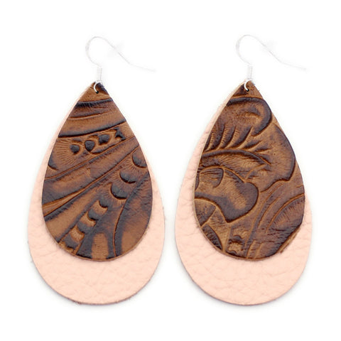 The Double Drop Leather Earrings in Tooled Brown Over Millennial Pink