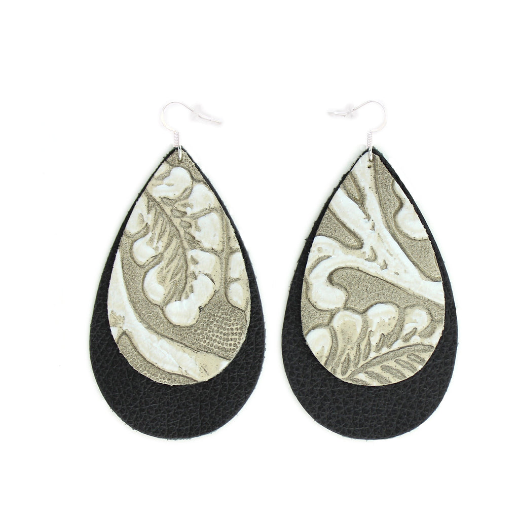 The Double Drop Leather Earrings in Tooled Grey over Black