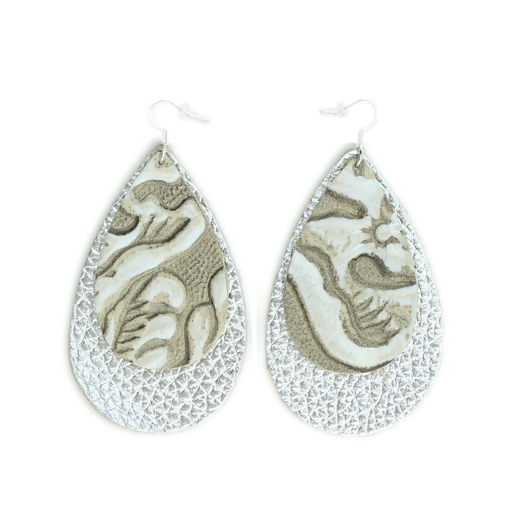 The Double Drop Leather Earrings in Tooled Grey over Navy