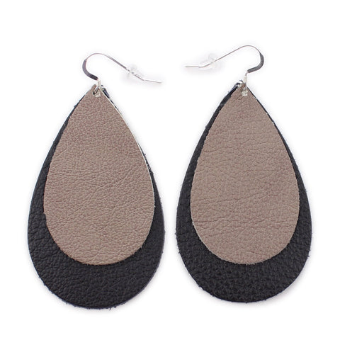 The Double Drop Leather Earrings in Taupe Over Black