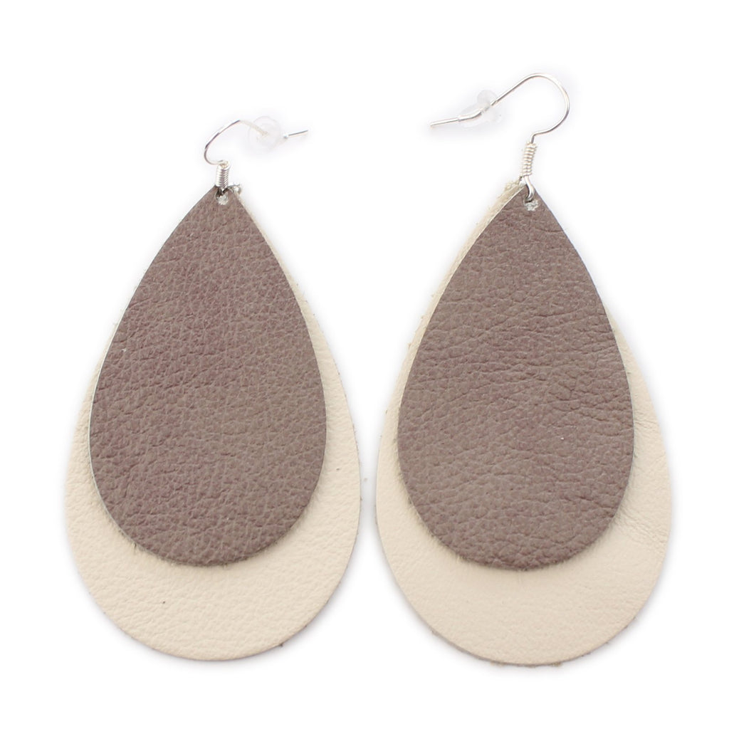 The Double Drop Leather Earrings in Taupe Over Natural