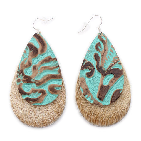 The Double Drop Leather Earring in Tooled Turquoise over Light Tan Hair On