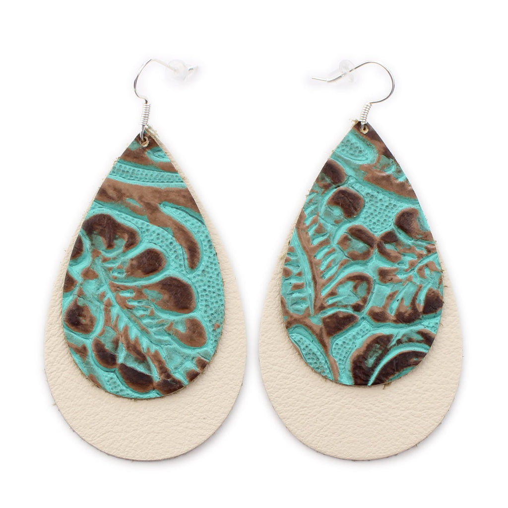 The Double Drop Leather Earrings in Tooled Turquoise over Tooled Brown