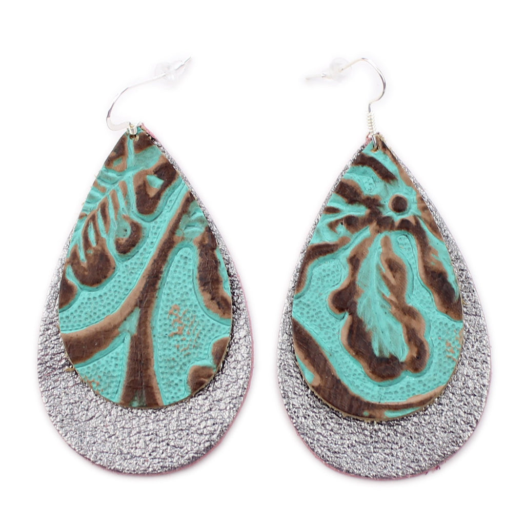 The Double Drop Leather Earrings in Tooled Turquoise over Shiny Silver
