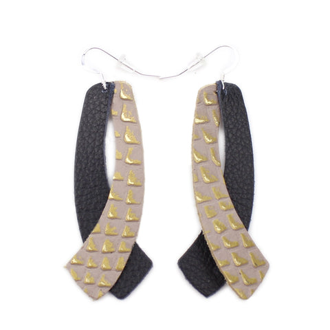 The Double Wing Leather Earrings in Gold Lizard with Black