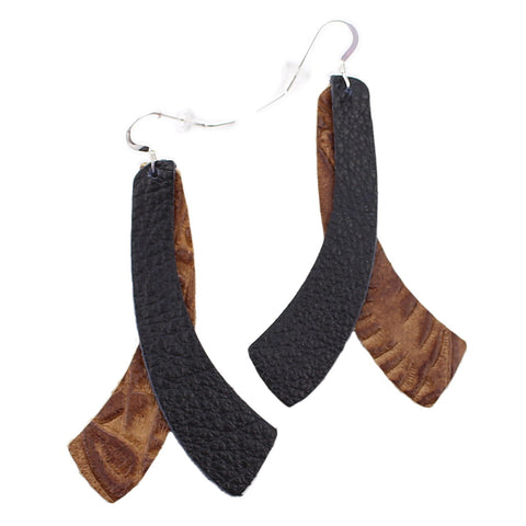 The Double Wing Leather Earrings in Tooled Brown with Black