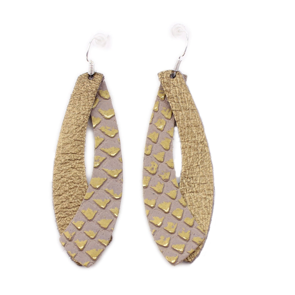 The Double Wing Leather Earrings in Gold Foil with Gold Lizard