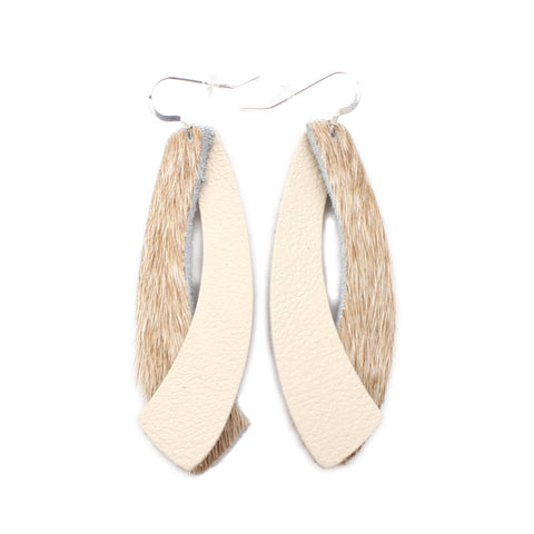 The Double Wing Hair On Leather Earring in Light Tan with Natural