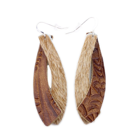 The Double Wing Hair On Leather Earring in Tooled Brown with Light Tan