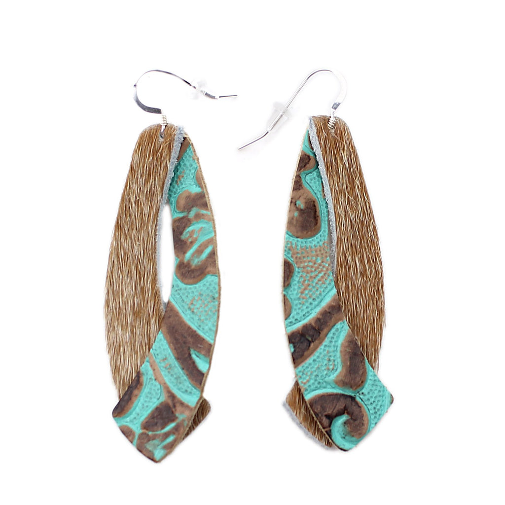 The Double Wing Hair On Leather Earring in Tooled Turquoise with Light Tan