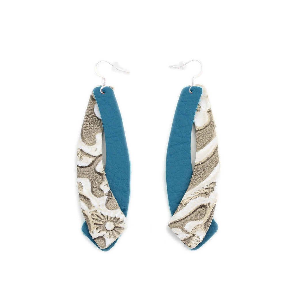 The Double Wing Leather Earring in Teal over Tooled Grey