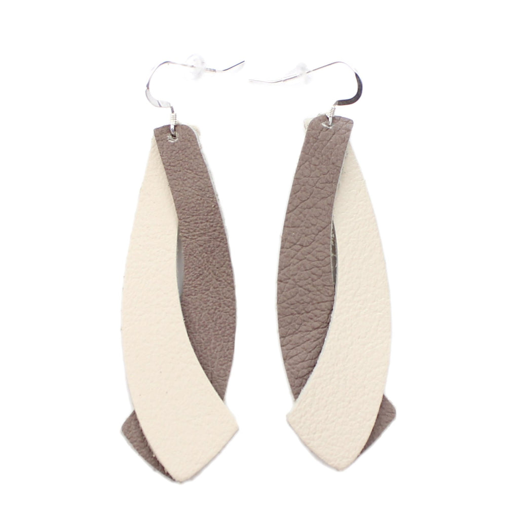 The Double Wing Leather Earrings in Taupe with Natural