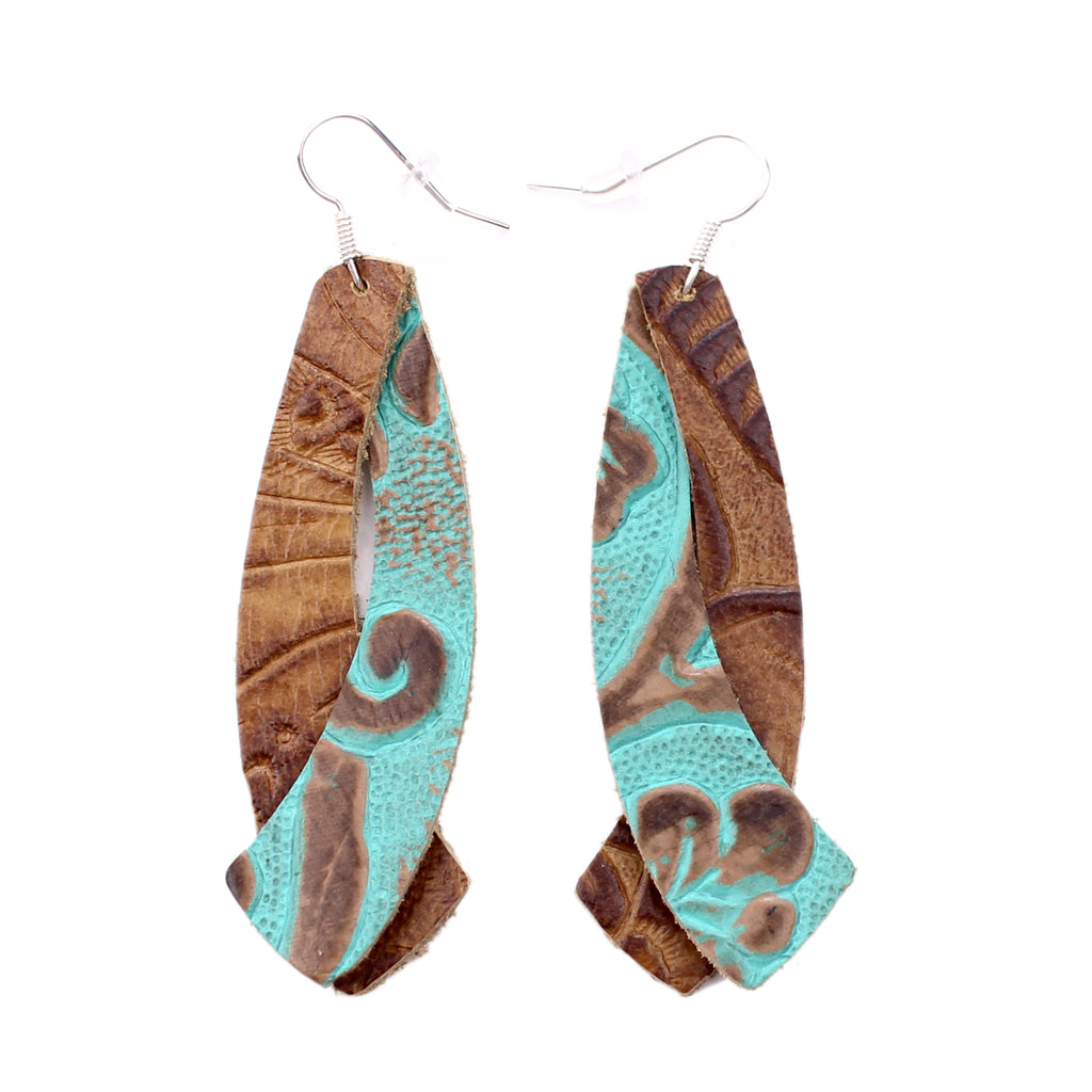 the double wing - tooled turquoise with tooled brown