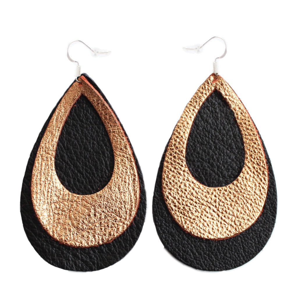The Double Eclipse Leather Earrings in Copper Rose Gold Over Black