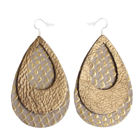 The Double Eclipse Leather Earrings in Gold Foil Over Gold Lizard