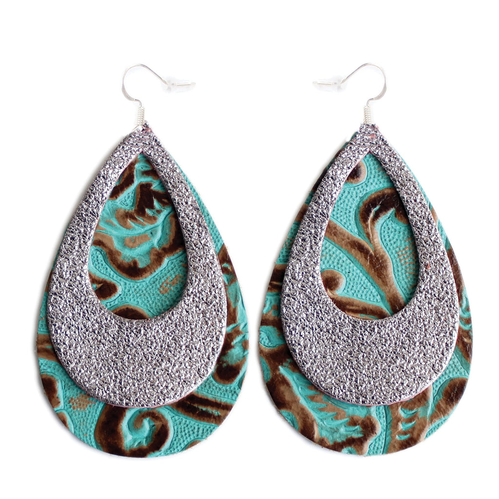 The Double Eclipse Leather Earrings in Shiny Silver Over Tooled Turquoise