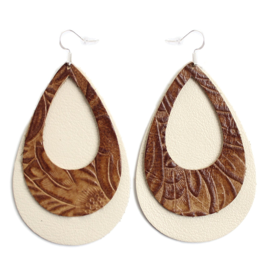The Double Eclipse Leather Earrings in Tooled Brown Over Natural