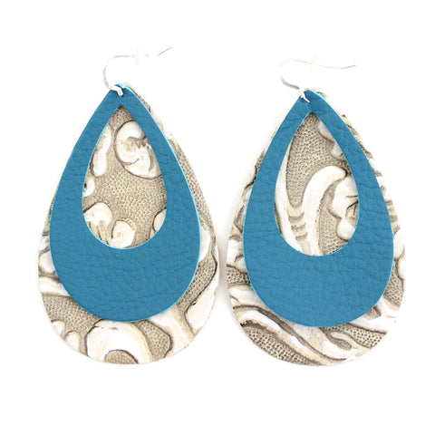 The Double Eclipse Leather Earring in Teal over Tooled Grey