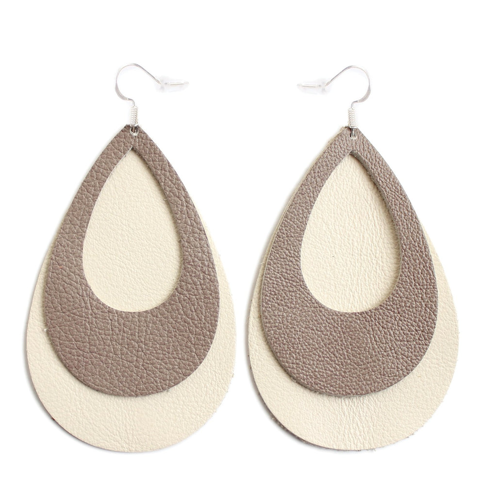 The Double Eclipse Leather Earrings in Taupe Over Natural